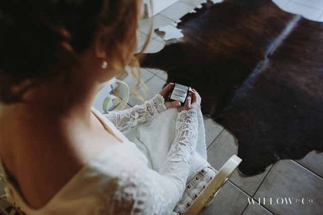 vintage wedding dress and ring