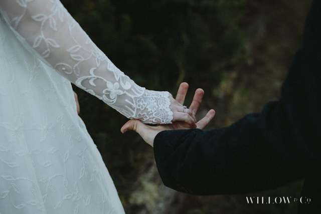 lace details vintage wedding dress
