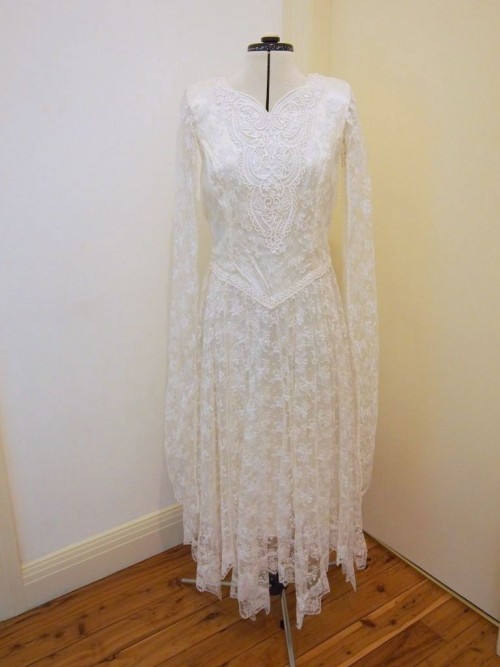 lace tea length vintage wedding dress